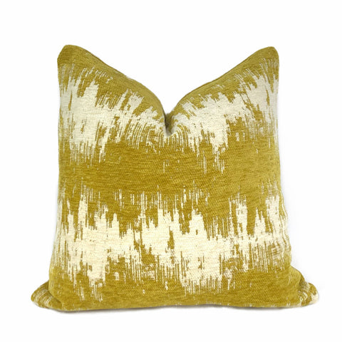 Ziggy Mustard Cream Jagged Stripes Chenille Pillow Cover