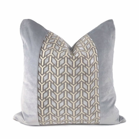 Abbott Gray Geometric Chenille Velvet Pillow Cover - Aloriam