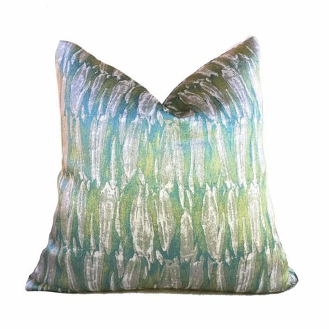 Abstract Paint Brush Strokes Green Beige Designer Pillow Cover by Aloriam