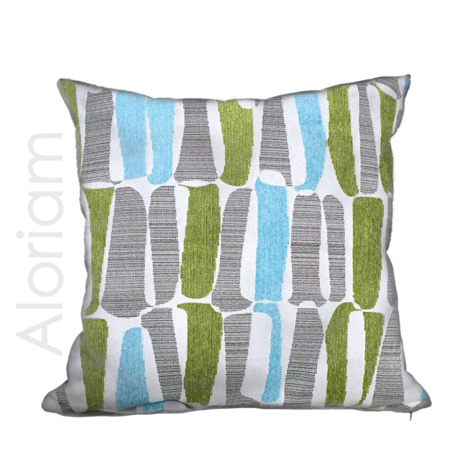 Abstract shapes gray green pillow