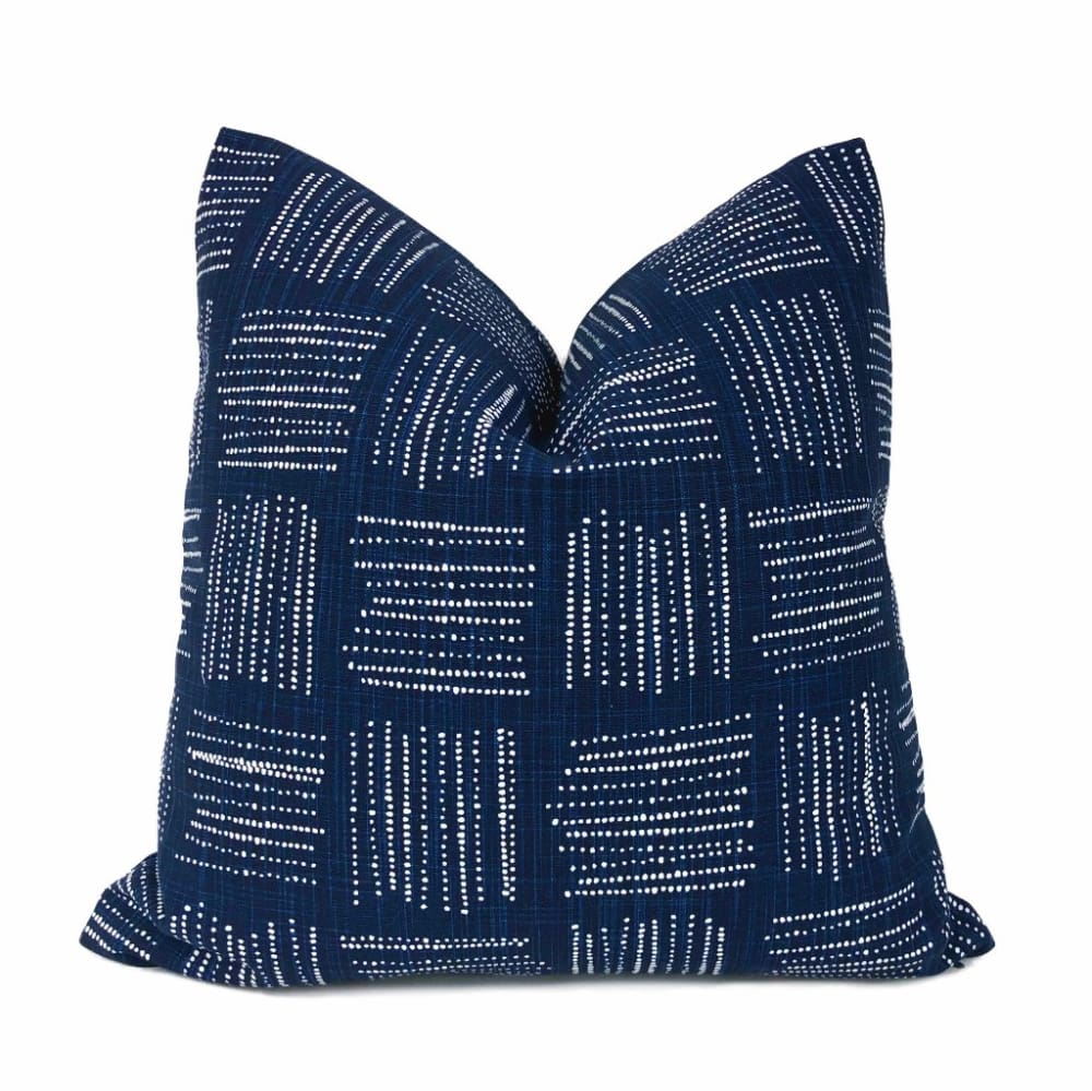 Akino Navy Blue White Crosshatch Blocks Pillow Cover - Aloriam