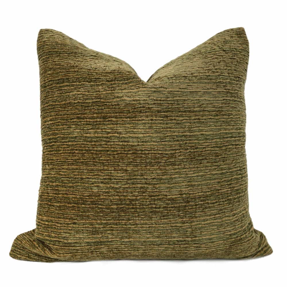 Algonquin Brown Green Ridged Chenille Texture Pillow Cover - Aloriam