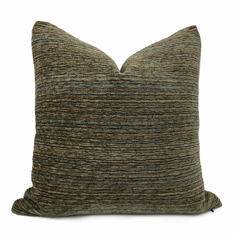 Algonquin Lakeside Brown Blue Ridged Chenille Texture Pillow Cover - Aloriam