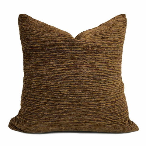 Algonquin Redwoods Brown Ridged Chenille Texture Pillow Cover - Aloriam