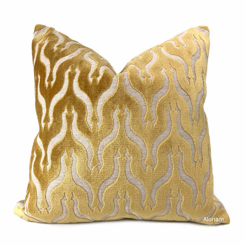 Alhambra Golden Brown Ogee Lattice Cut Velvet Pillow Cover - Aloriam