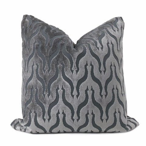 Alhambra Gray Ogee Lattice Cut Velvet Pillow Cover - Aloriam