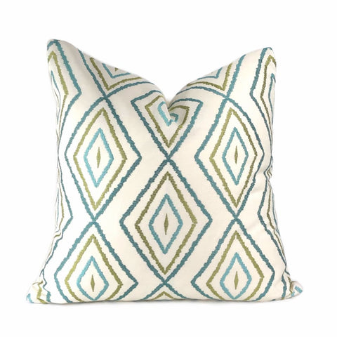 Ambri Green Blue Cream Embroidered Diamonds Pillow Cover - Aloriam