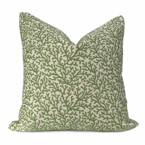 Amherst Green Coral Botanical Pillow Cover (Kravet fabric) - Aloriam