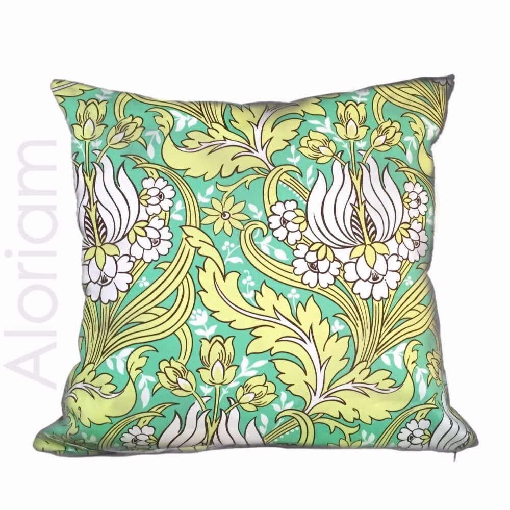 Amy Butler Lotus Temple Green Lime White Floral Pillow Cover Cushion Pillow Case Euro Sham 16x16 18x18 20x20 22x22 24x24 26x26 28x28 Lumbar Pillow 12x18 12x20 12x24 14x20 16x26 by Aloriam