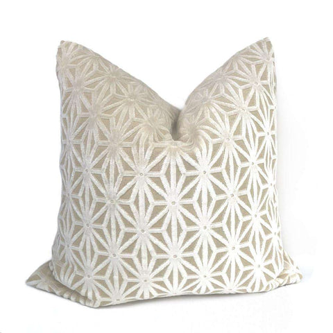 Andromeda Cream Beige Star Lattice Cut Velvet Pillow Cover