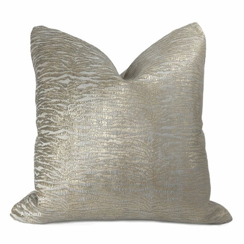 Annika Griege Grayish Beige Metallic Tiger Pillow Cover - Aloriam