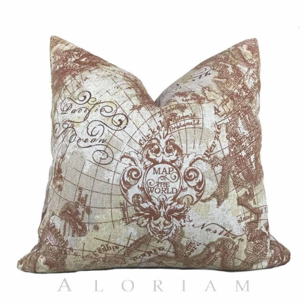 Antique Old World Map Print Brown Beige Linen Pillow Cushion by Aloriam