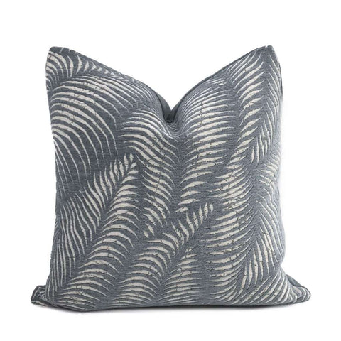 Arcadia Slate Gray-Blue Botanical Ferns Chenille Pillow Cover Cushion Pillow Case Euro Sham 16x16 18x18 20x20 22x22 24x24 26x26 28x28 Lumbar Pillow 12x18 12x20 12x24 14x20 16x26 by Aloriam