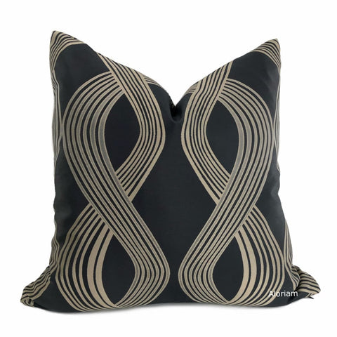 Aria Charcoal Gray Bronze Brown Modern Ribbon Twist Pillow Cover - Aloriam