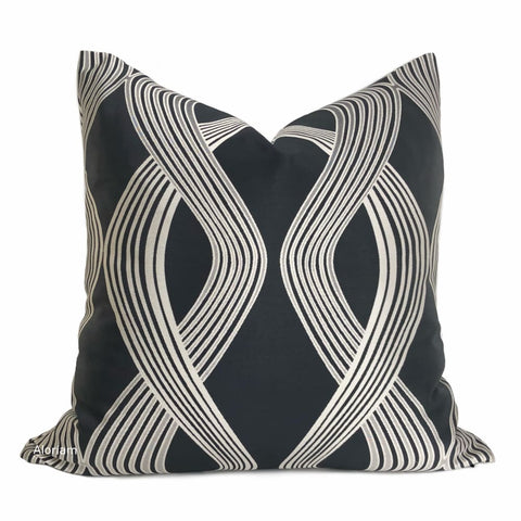 Aria Charcoal & Silver Modern Ribbon Twist Pillow Cover - Aloriam