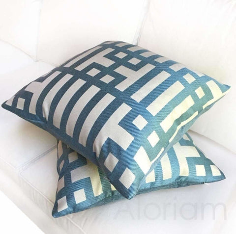 Art Deco Geometric Aqua Blue Jacquard Pillow Cushion Cover