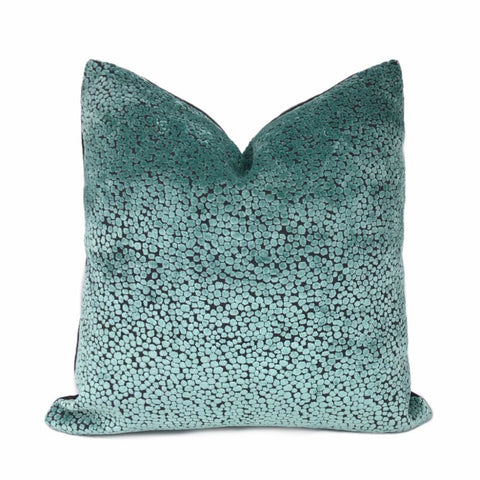 Ascott Aquamarine Gray Abstract Cut Velvet Dots Pillow Cover - Aloriam