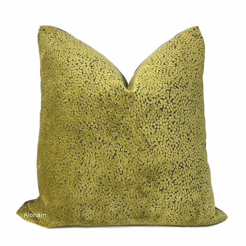 Ascott Chartreuse Gray Abstract Cut Velvet Dots Pillow Cover - Aloriam