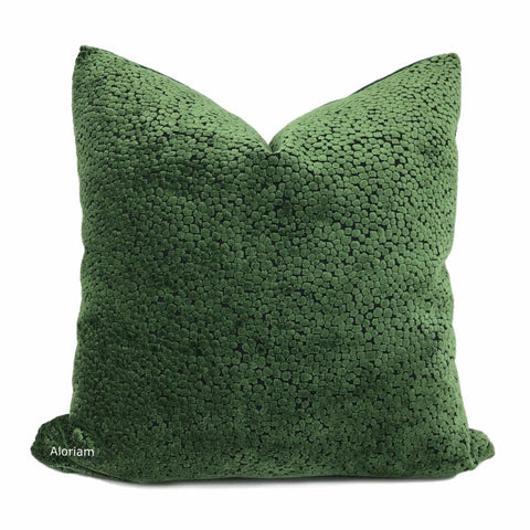 Ascott Forest Green Abstract Cut Velvet Dots Pillow Cover - Aloriam