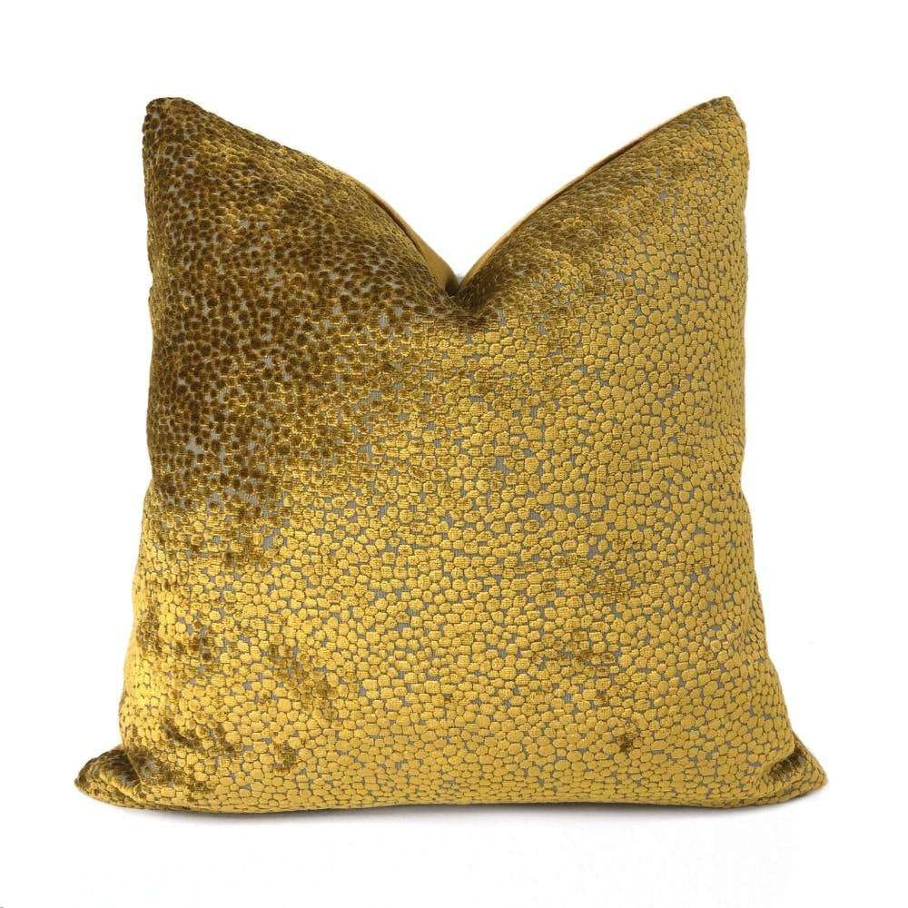 Ascott Harvest Gold Abstract Cut Velvet Dots Pillow Cover