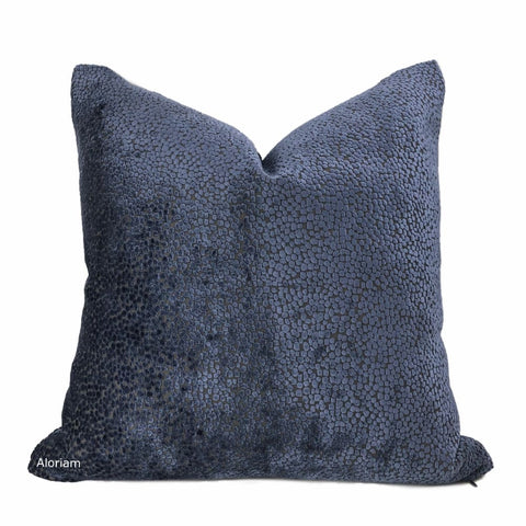 Ascott Navy Blue Abstract Cut Velvet Dots Pillow Cover - Aloriam