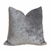 Pewter Gray Abstract Cut Velvet Dots Pillow Cover 20x20