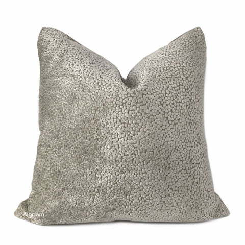 Ascott Taupe Beige Abstract Cut Velvet Dots Pillow Cover - Aloriam