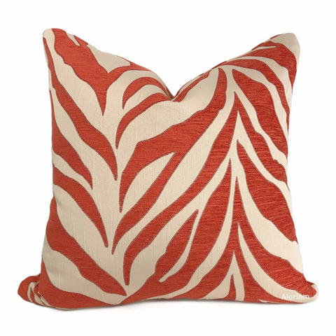 Ashoka Orange Ivory Tiger Stripe Chenille Pillow Cover - Aloriam