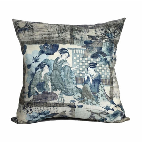 Chinoiserie Japanese Geisha Pillow Cover by Aloriam