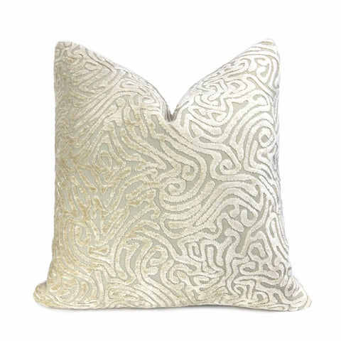 Asriel Ivory Beige Freeform Swirl Texture Pillow Cover - Aloriam
