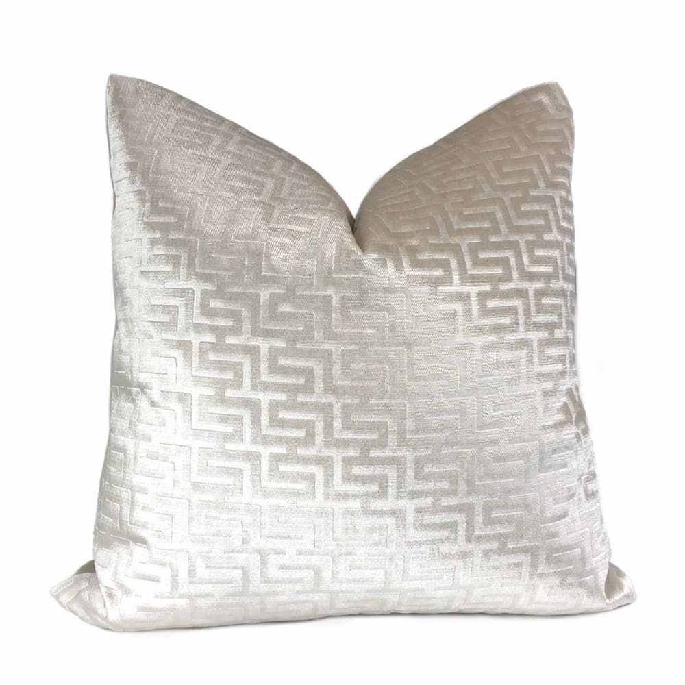 Athena Pearl Greek Key Velvet Pillow Cover - Aloriam