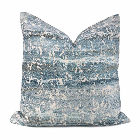 Atlantis Watery Blues Abstract Texture Pillow Cover - Aloriam