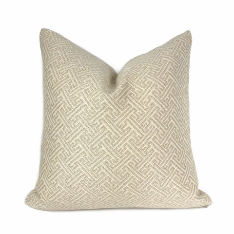 Atlas Greek Key Cream Geometric Pillow Cover - Aloriam