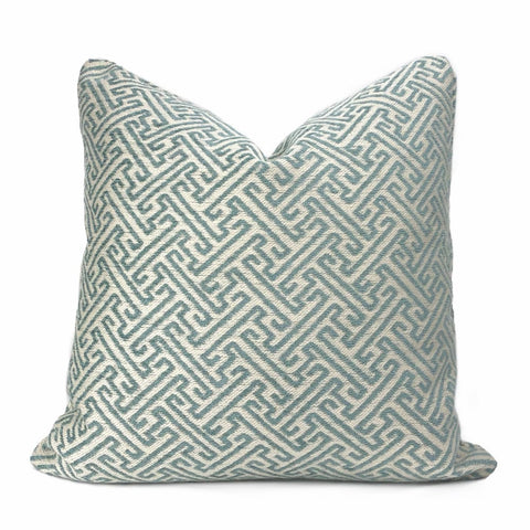 Atlas Greek Key Pool Blue Cream Geometric Pillow Cover - Aloriam