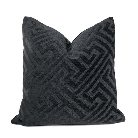 Atticus Dark Gray Greek Key Chenille Pillow Cover Cushion Pillow Case Euro Sham 16x16 18x18 20x20 22x22 24x24 26x26 28x28 Lumbar Pillow 12x18 12x20 12x24 14x20 16x26 by Aloriam