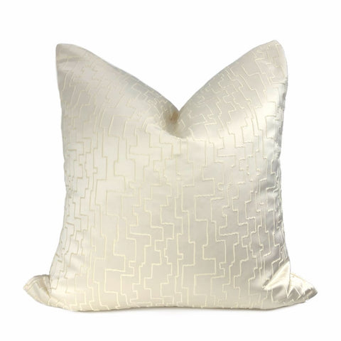 Aurelius Two Tone Cream Embroidered Sateen Maze Pillow Cover - Aloriam