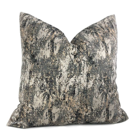 Axley Metallic Quartz Black Gray Gold Pillow Cover - Aloriam