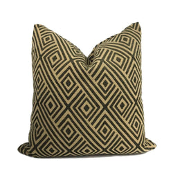 Aziza Brown & Ochre Geometric Diamond Pillow Cover Cushion Pillow Case Euro Sham 16x16 18x18 20x20 22x22 24x24 26x26 28x28 Lumbar Pillow 12x18 12x20 12x24 14x20 16x26 by Aloriam
