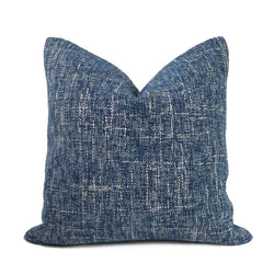 Bailey Ocean Blue Tweed Textured Pillow Cover Cushion Pillow Case Euro Sham 16x16 18x18 20x20 22x22 24x24 26x26 28x28 Lumbar Pillow 12x18 12x20 12x24 14x20 16x26 by Aloriam