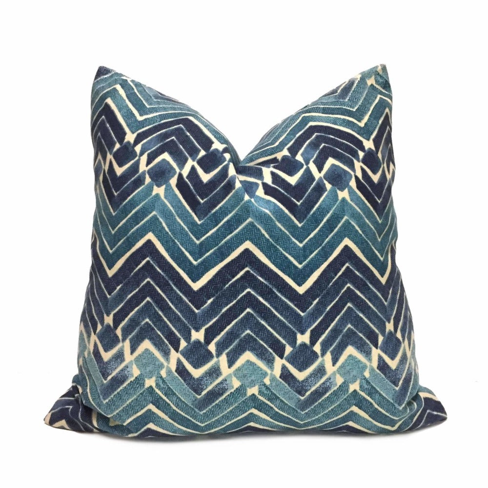 Bali Blue Teal Tribal Ikat Chevron Print Pillow Cover Cushion Pillow Case Euro Sham 16x16 18x18 20x20 22x22 24x24 26x26 28x28 Lumbar Pillow 12x18 12x20 12x24 14x20 16x26 by Aloriam