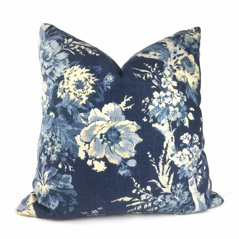Ballad Bouquet Indigo Blue Cream Floral Print Pillow Cover - Aloriam