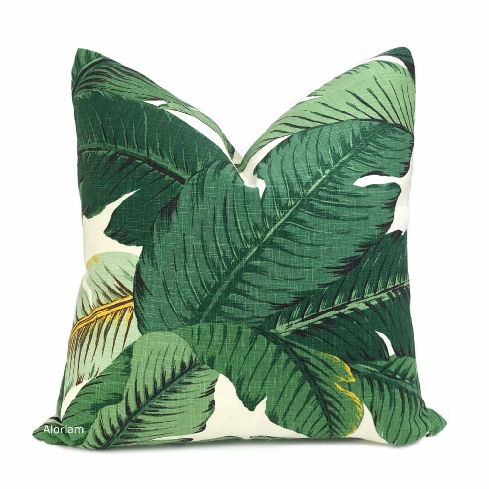 Banana Leaf Tropical Palm Leaves Green Linen Print Pillow Cover - Aloriam
