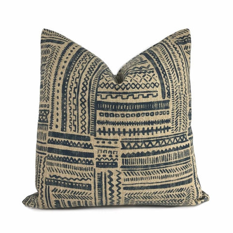 Banba African Ethnic Blue Tan Mudcloth Print Pillow Cover - Aloriam