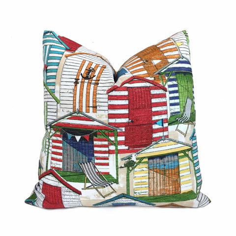 Beach Huts Cabana Outdoor Solarium White Red Blue Green Orange Decorative Throw Pillow Cover Cushion Pillow Case Euro Sham 16x16 18x18 20x20 22x22 24x24 26x26 28x28 Lumbar Pillow 12x18 12x20 12x24 14x20 16x26 by Aloriam