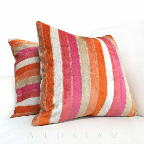 Beau Monde Pink Orange Beige Stripe Chenille Pillow Cover Pillow Sham 16x16 18x18 20x20 22x22 24x24 26x26 28x28