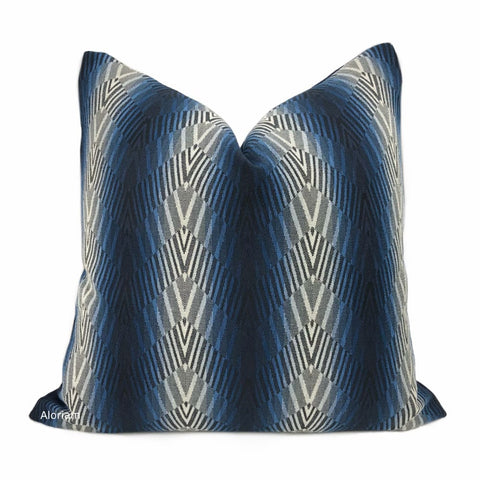 Beekman Blue Art Deco Chevron Stripe Pillow Cover - Aloriam
