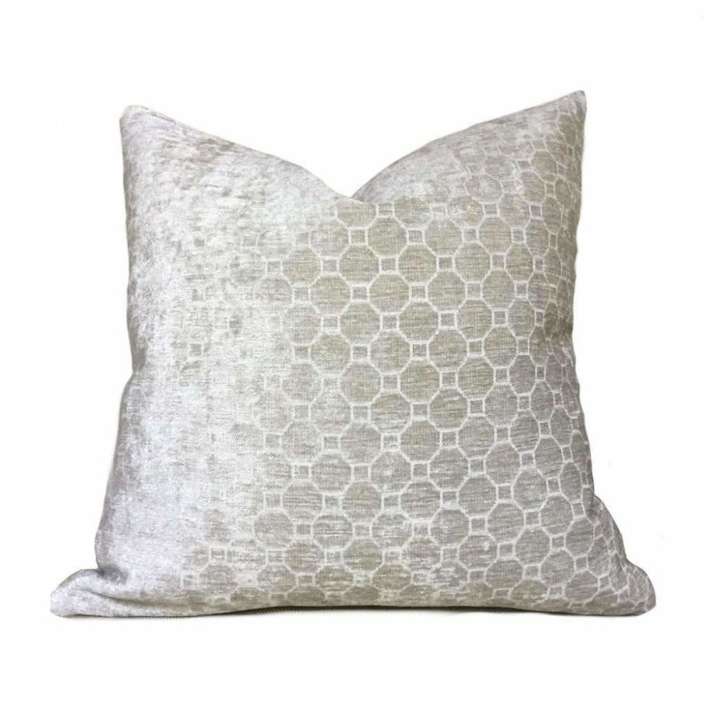 Belgrano Pearl Gray Geometric Tile Chenille Pillow Cushion Zipper Cover