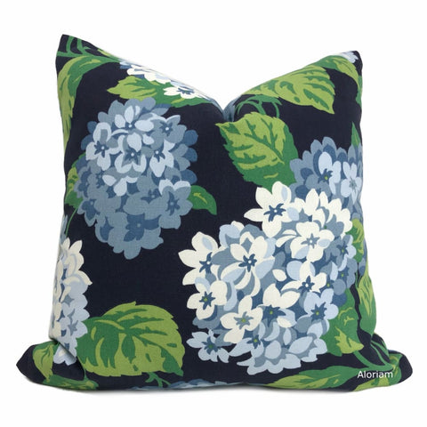 Bella Navy Blue Green White Hydrangea Floral Print Pillow Cover - Aloriam