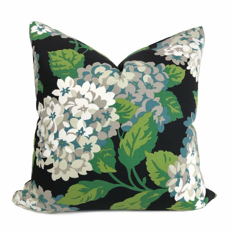 Bella Onyx Green Cream Gray Hydrangea Floral Print Pillow Cover - Aloriam