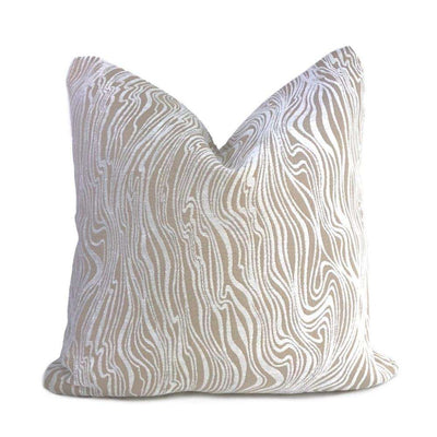 Belleterre Abstract Topography Lines Cream Beige Chenille Pillow Cover Sham 16x16 18x18 20x20 22x22 24x24 26x26 28x28